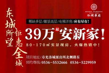 泓润华府钜惠全城,39万起安新家!